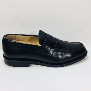 J. Crew Split Toe Black Leather Penny Loafer Italy